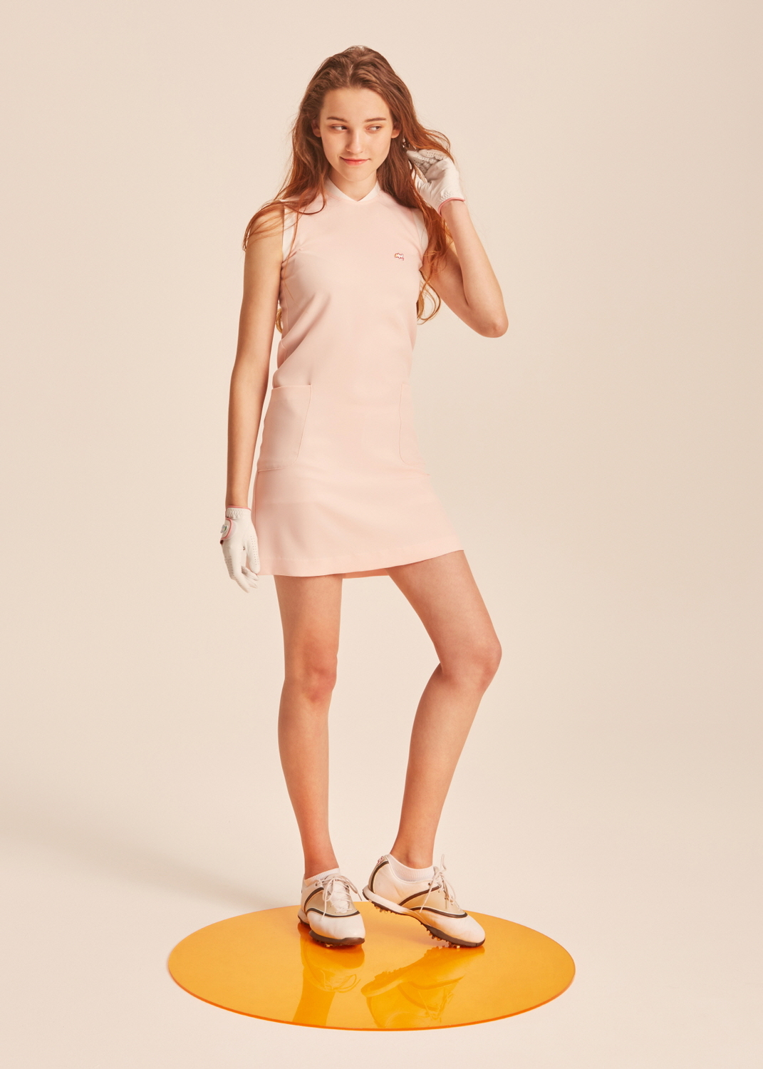 Sasha stand collar baby pink dress